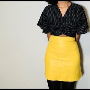 Yellow Faux Leather Skirt